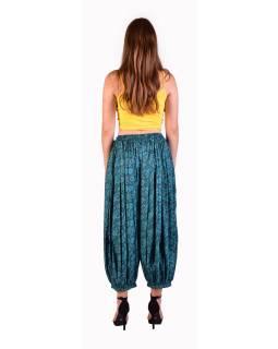 Balónové pohodlné volné kalhoty, tyrkysové s drobným paisley potiskem