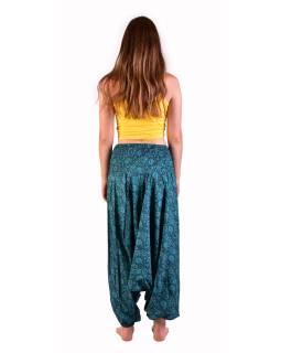 Turecké pohodlné volné kalhoty, tyrkysové s drobným paisley potiskem