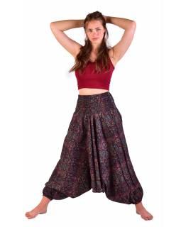 Turecké pohodlné volné kalhoty, černé s barevným s paisley potiskem