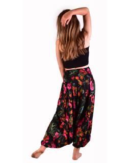 Turecké pohodlné volné kalhoty, černé, potisk růžových květin