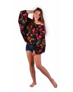 Turecké pohodlné volné kalhoty 2 v 1, černé, potisk růžových květin