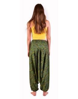 Turecké pohodlné volné kalhoty, zelené s drobným paisley potiskem