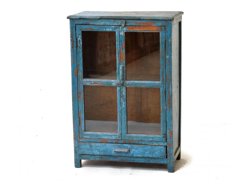 Prosklená skříňka z antik teakového dřeva, tyrkysová patina, 63x31x92cm