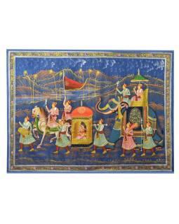 Malba na hedvábí, noční cesta panovníka, zobrazeni koně a sloni, 100x75cm