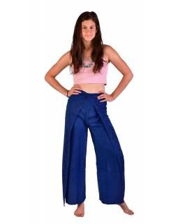 Dlouhé zavinovací kalhoty s výšivkou, tmavě modré