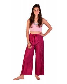 Dlouhé zavinovací kalhoty s výšivkou, růžové