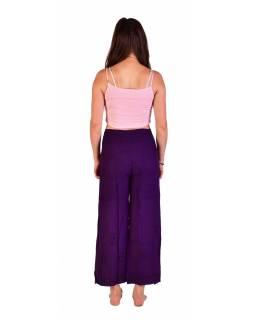 Dlouhé zavinovací kalhoty s výšivkou, tmavě fialové