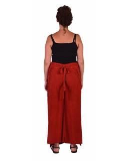 Dlouhé zavinovací kalhoty s výšivkou, červené