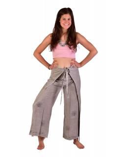 Dlouhé zavinovací kalhoty s výšivkou, šedé