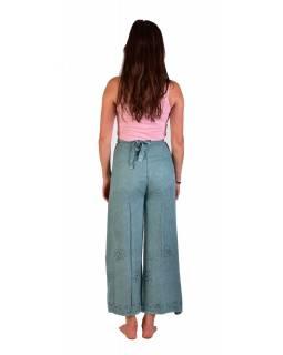 Dlouhé zavinovací kalhoty s výšivkou, mentolové