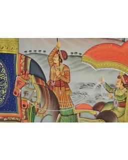 Malba na hedvábí, cesta panovníka, vyobrazeni sloni a koně, 100x75cm
