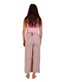 Dlouhé zavinovací kalhoty s výšivkou, béžové