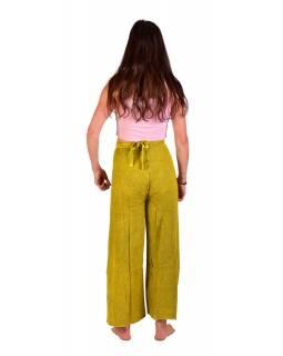 Dlouhé zavinovací kalhoty s výšivkou, žluté