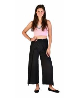 Dlouhé zavinovací kalhoty s výšivkou, černé