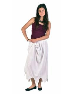 Dlouhá sukně s výšivkou, pružný pas, bílá