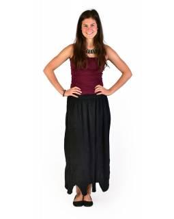 Dlouhá sukně s výšivkou, pružný pas, černá