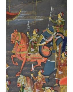 Malba na hedvábí, cesta panovníka, vyobrazeni sloni a koně, 75x100cm