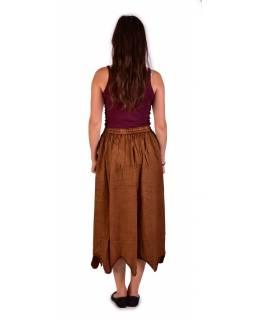 Dlouhá sukně s výšivkou, pružný pas, hnědá