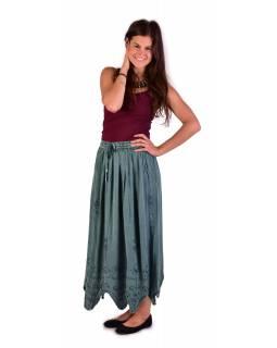 Dlouhá sukně s výšivkou, pružný pas, mentolová