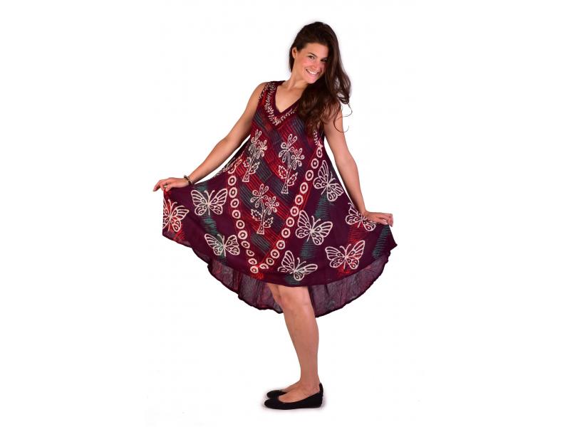 Krátké šaty bez rukávu, potisk, výšivka, mix barvy