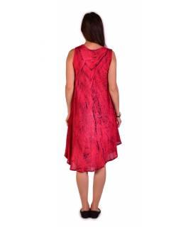 Krátké červené volné šaty bez rukávu, výšivka, potisk ornamenty