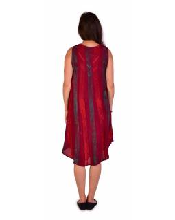 Krátké červené šaty bez rukávu, potisk, výšivka