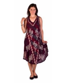 Krátké vínové šaty bez rukávu, potisk, výšivka