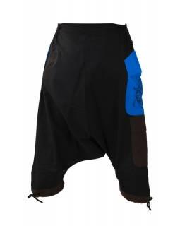 Turecké kalhoty, tříčtvrteční, černo-modro-hnědé, výšivka, kapsy