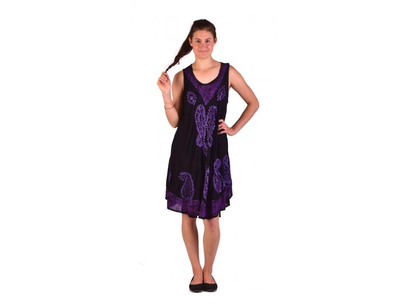 Krátké černo-fialové šaty bez rukávu, výšivka