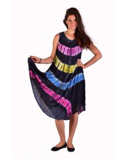 Krátké barevné šaty bez rukávu, šedý podklad, výšivka