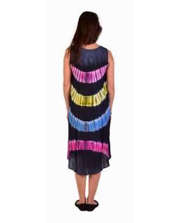 Krátké šedé šaty bez rukávu, barevné batikované pruhy, výšivka