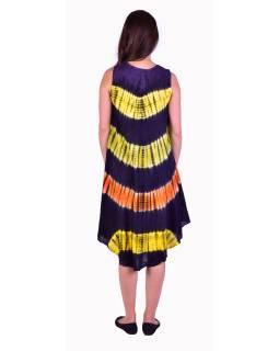 Krátké barevné šaty bez rukávu, fialový podklad, výšivka