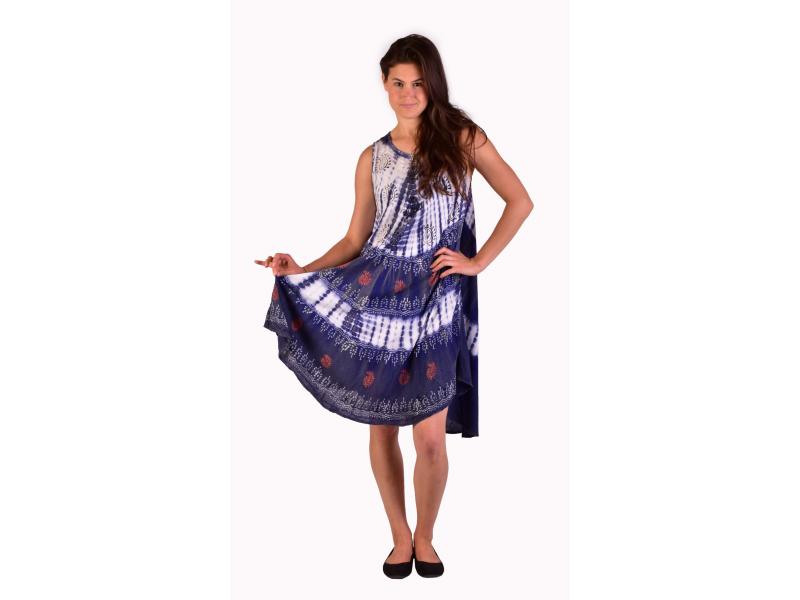 Delší šaty bez rukávu, fialovo-bílé, potisk, batika