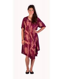 Krátké světle fialové šaty s rukávkem, výšivka, potisk