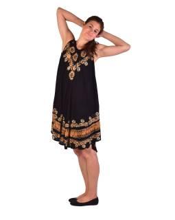 Delší černé šaty bez rukávu, se žlutou výšivkou, potisk