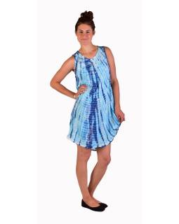 Krátké šaty bez rukávu, modro-bílé, potisk, batika, s lurexem