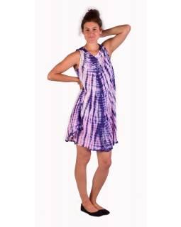 Krátké šaty bez rukávu, fialovo-růžové, potisk, batika, s lurexem