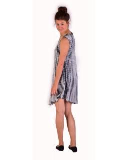Krátké šaty bez rukávu, šedo-bílé, potisk, batika, s lurexem