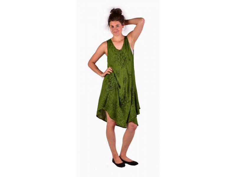 Delší šaty bez rukávu, zelené, výšivka