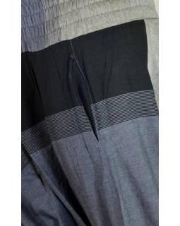 Černo šedé turecké kalhoty s žabičkováním a kapsami