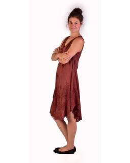Delší šaty bez rukávu, hnědé, výšivka
