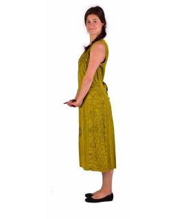 Dlouhé žluté šaty bez rukávu, výšivka, zavazování na zádech