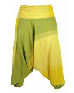 Žluto zelené turecké kalhoty s žabičkováním a kapsami