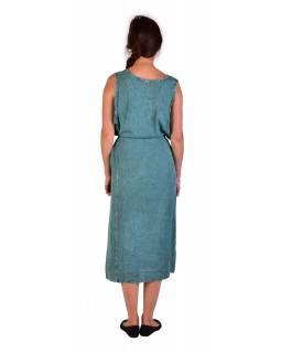 Dlouhé mentolově modré šaty bez rukávu, výšivka, zavazování na zádech