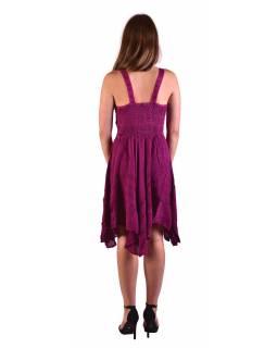 Krátké růžové šaty na ramínka, výšivka, drobný potisk květin