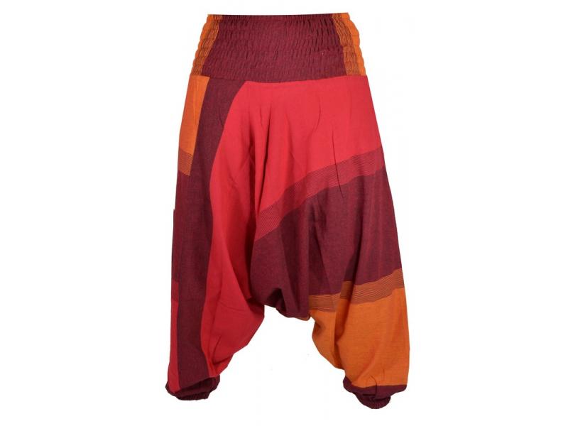 Vínovo oranžovo červené turecké kalhoty s žabičkováním a kapsami