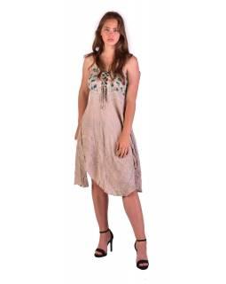 Krátké béžové šaty na ramínka, výšivka, drobný potisk květin