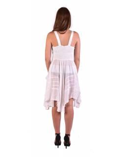 Krátké bílé šaty na ramínka, výšivka, drobný potisk květin