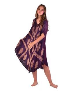 Krátké tmavě fialové šaty s rukávkem, výšivka, potisk