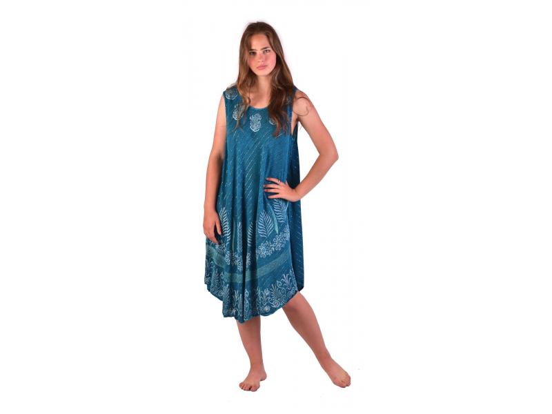 Delší šaty bez rukávu, modré, potisk, s lurexem